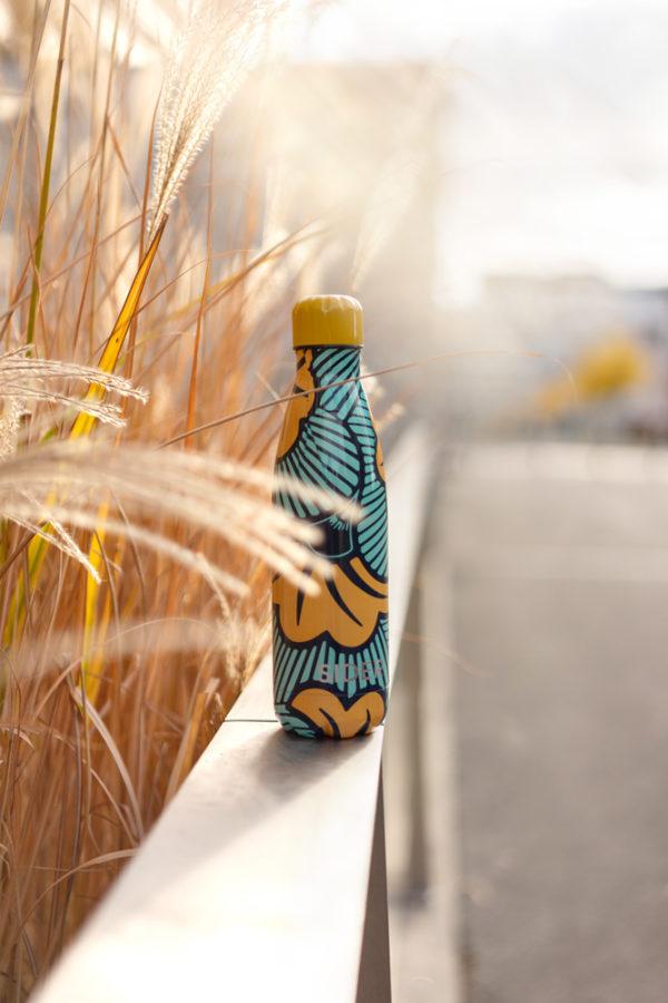 Bouteille isotherme et inoxydable au design original jaune et bleu - Ilanga SIDER Bottle