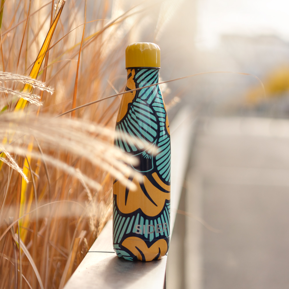 Insulated and stainless bottle with yellow and blue original design - Ilanga SIDER Bottle